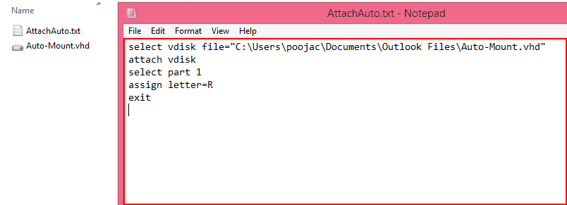 Auto mount vhdx file