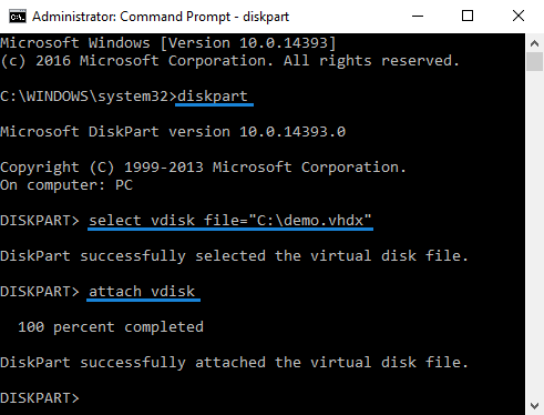 commonds to auto mount vhd file